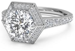 Hexagonal halo diamond engagement ring in palladium