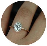 oval diamod engagement ring on finger