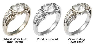 image to show rhodium wearing off a white gold engagement ring
