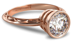 Rose gold vintage style bezel engagement ring