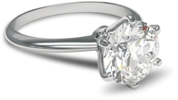 6 prong solitaire diamond engagement ring in palladium setting