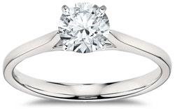 Round brilliant solitaire diamond engagement ring