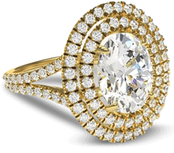 double halo gold engagement ring with oval centre stone