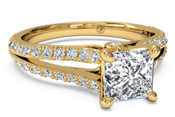 Princess cut yellow gold split shank engagement ring