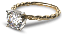 yellow gold diamond solitaire engagement ring with twisted shank