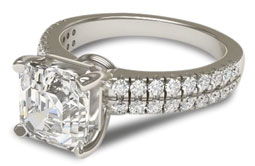 Asscher cut engagement ring with two rows of pave setting
