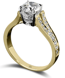 Yellow gold diamond solitaire engagement ring with v-shank pave setting