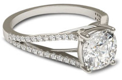 White gold engagement ring with trellis split shank setting