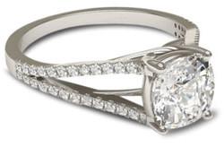 White gold engagement ring with trellis split shank setting