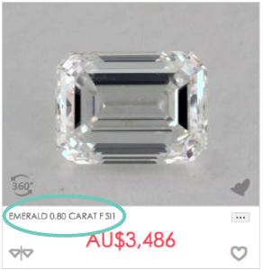 0.8 carat emerald cut diamond