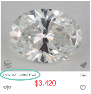 0.8 carat oval shaped diamond