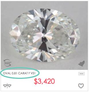 0.8 carat oval shaped diamond