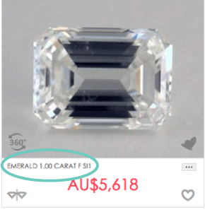 1 carat emerald cut diamond