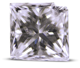 Princess cut diamond with chipped corner