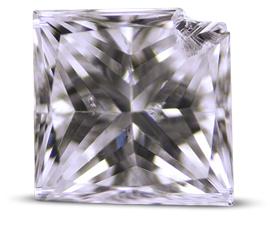 Princess cut diamond with chipped corner