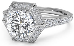 Halo set diamond engagement ring with hexagonal halo