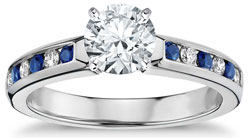 Channel set engagement ring with sapphires
