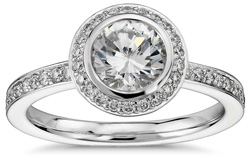 bezel halo engagement ring