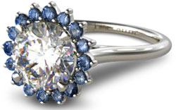 diamond halo engagement ring with sapphire starburst halo setting