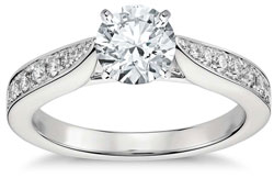 Cathedral pave engagement ring