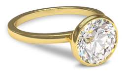 gold bezel diamond engagement ring