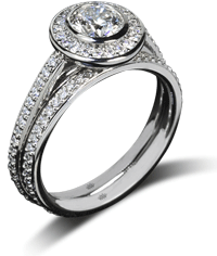 Halo prong bezel diamond engagement ring