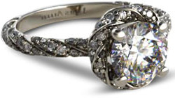 vintage style halo diamond engagement ring