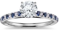sapphire diamond pave - Pavé engagement rings