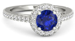 Platinum engagement ring withe sapphire center stone