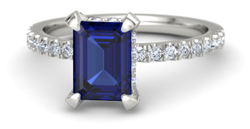 emerald cut sapphire platinum ring with diamond - Sapphire engagement rings