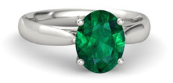 Oval emerald solitaire engagement ring