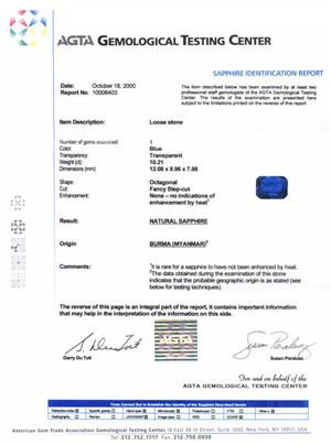 AGTA Sapphire Certificate