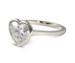 Heart Bezel Solitaire Engagement Ring (14K White Gold)