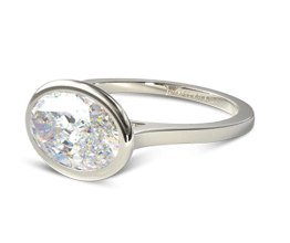 Oval Bezel Solitaire Engagement Ring (14K White Gold)