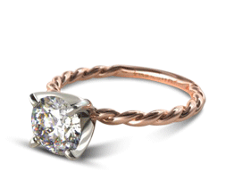 Round Cable Solitaire Engagement Ring