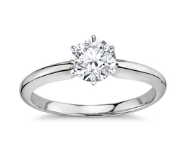 Classic Six Prong Engagement Ring 14k White Gold1 - Best engagement Rings for Active Women