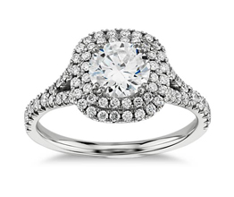 Round Diamond Duet Halo Engagement Ring