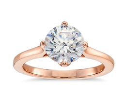 East West Solitaire Engagement Ring 14k Rose Gold - Solitaire engagement rings