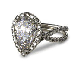 Pear Elevated Pavé Halo Engagement Ring with Diamond Encrusted Band (Platinum)