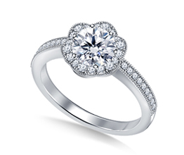 Round Floral Diamond Halo Pavé Set Engagement Ring (Platinum)
