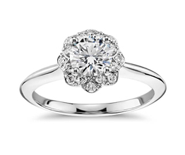 Round Diamond Floral Halo Engagement Ring