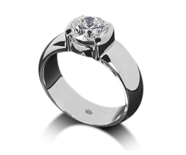 Heavy Half-Bezel Solitaire Engagement Ring