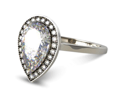 Pear Pavé Halo Engagement Ring (Platinum)