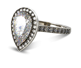 Pear Pavé Halo & Shoulders Engagement Ring (14K White Gold)