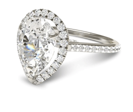 Pear Halo Diamond Engagement Ring (Platinum)