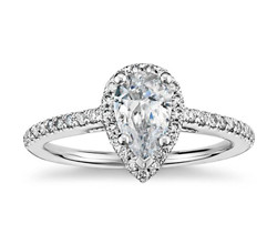 Pear Shaped Halo Engagement Ring (14K White Gold)