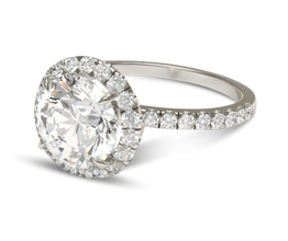 Petite Halo Scalloped Round Diamond Engagement Ring (Palladium)