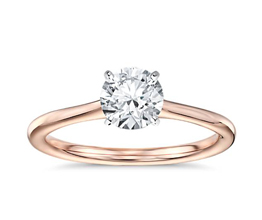Petite Solitaire Engagement Ring 14k Rose Gold - Solitaire engagement rings