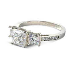 Three stone pavé princess cut engagement ring