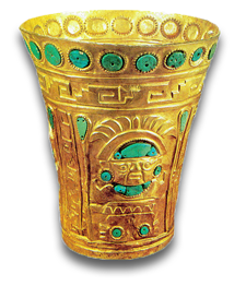gold aztec cup with inlaid emeralds